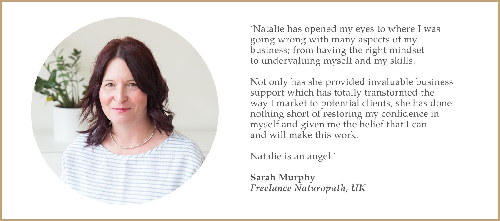 testimonial of Sarah Murphy, Naturopath