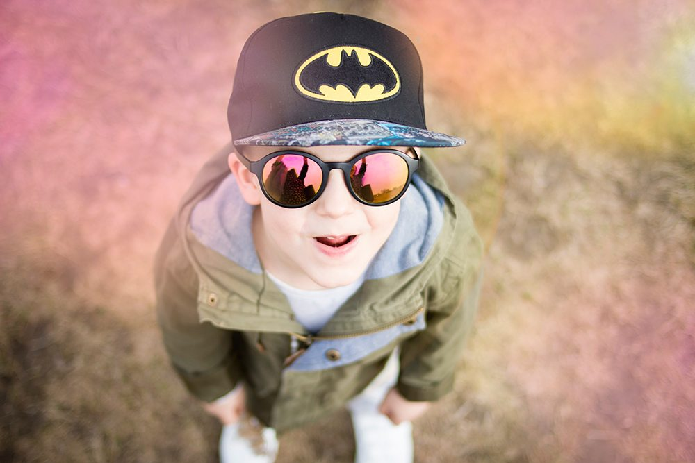 little boy with batman hat